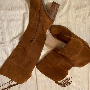 Coco brown suede knee high boots